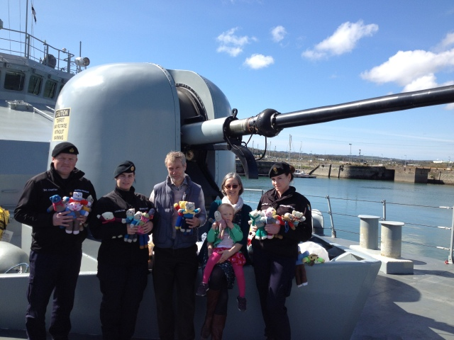Handing over the Mothers' Union 'Comfort Teddies' to LÉ Róisín crewmembers were(l-r) Lt(NS) Gavin McCarthy (Executive Officer), Leading Communication Operator Gillian Hamilton, Robert Devoy, Patsy Devoy (MU Diocesan President) and their granddaughter, and Petty Officer Suzan Brogan.