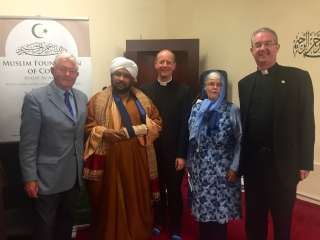 At the Iftar Meal recently were (l-r) Mr Charles Payne (representing the Rev Geraldine Gracie from Cork Methodist Church), Imam Ihab Ahmed (Cork Muslim Foundation), Canon Daniel Nuzum (Church of Ireland), Ms Valerie Fletcher (Cork Presbyterian Church) and Fr Christy Fitzgerald (Roman Catholic Church)