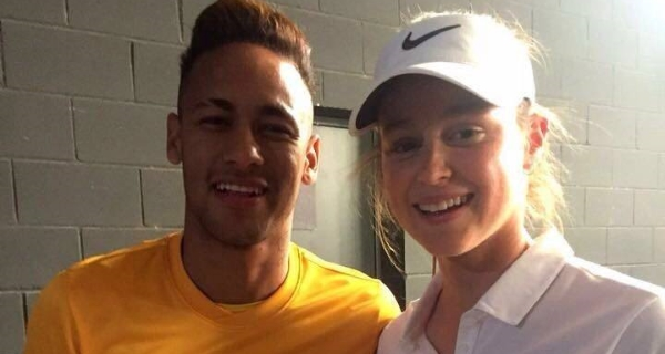 Neymar Jr with Agueda Cortilla Mas.