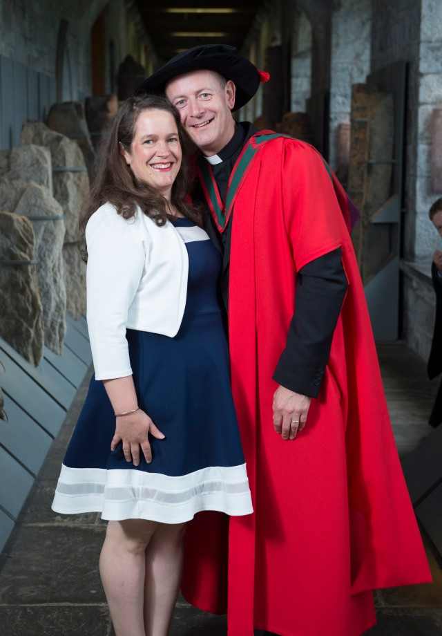 The Rev. Canon Dr Daniel Nuzum with Mrs Heather Nuzum following his conferring at UCC. Pictures: Gerard McCarthy