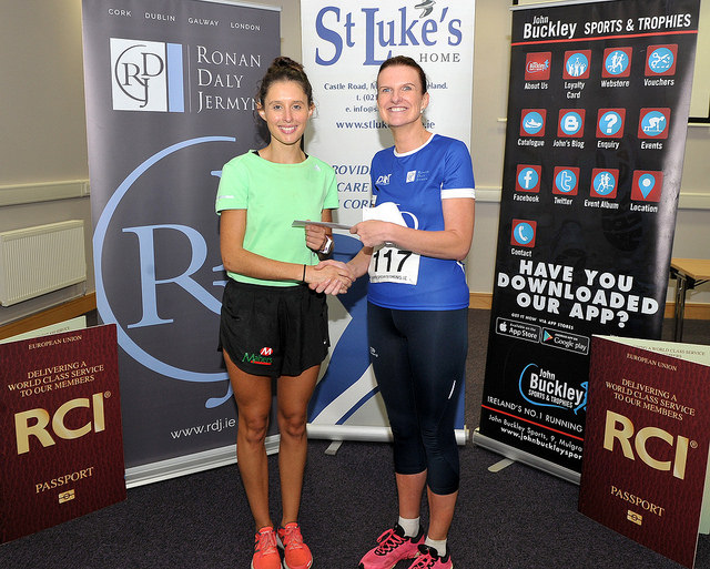 Jennifer Cashman (right) of Ronan, Daly, Jermyn, Solicitors, presents Sinead O'Connor with her prize.