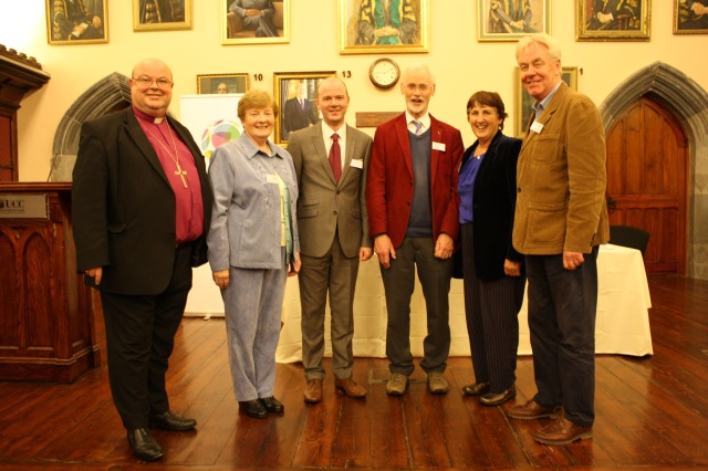 AT the launch fo Cork's first Educate Together Seoncdary School were (l-r) Dr Paul Colton, Bishop of Cork; Sister Jenny Clifford (Roman Catholic Church), COlm O'Connor (School Principal), the Reverend John Faris (Presbyterian Church in Ireland), Sabina Nagle (Bahai) and Brian Whiteside (Humanist Association of Ireland).