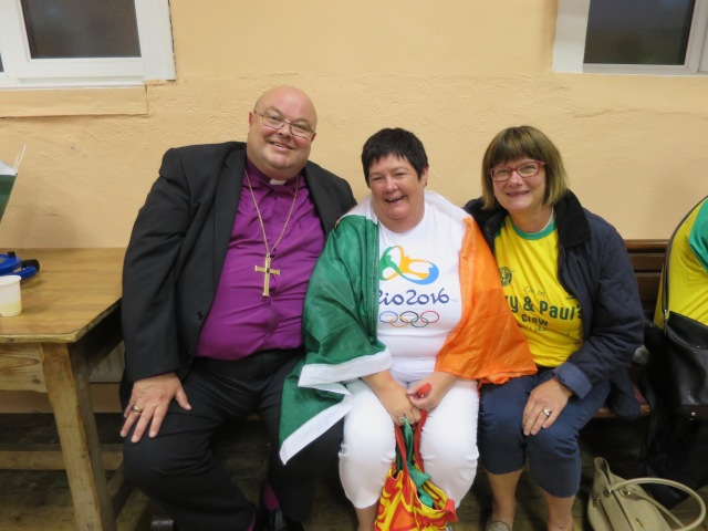 Bishop and Mrs Colton with Paul and Gary's mother Trish at the reception in Abbeystrewry Parish Hall following the homecoming celebrations in Skibbereen.