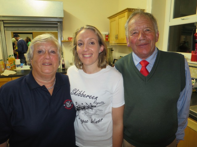 A proud night for Richard Hosford (right) and his wife Susan, and daughter Gillian, both of whom are also members of and highly involved in Skibbereen Rowing Club.