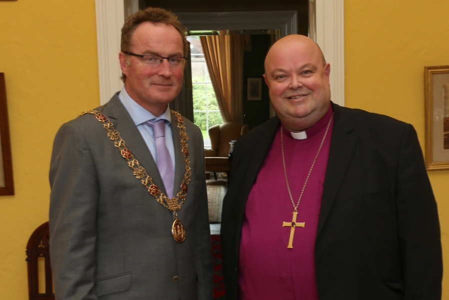 The Lord Mayor of Cork, Cllr Des Cahill, is welcome to The Palace by the Bishop.