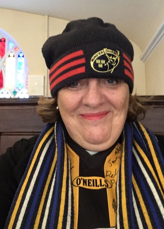 The Reverend Elaine Mjurray, Rector of Carrigaline, enters into the spirit of the recent All Age Sports Service from  her seat in the pew.