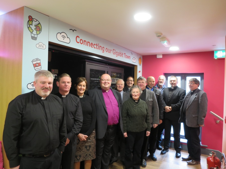 Bishop Paul Colton and the clergy of the rural deaneries of West Cork and Mid West Cork on their tour of the Ludgate Hub.