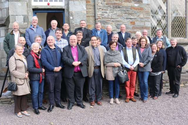 Clergy of Cork, Cloyne and Ross outside the Church of St Brendan the Navigator, Bantry with the Bishop and The Reverend Canon Mark Oakley, Chancellor of Saint Paul's Cathedral, Londpn (front row third from left)