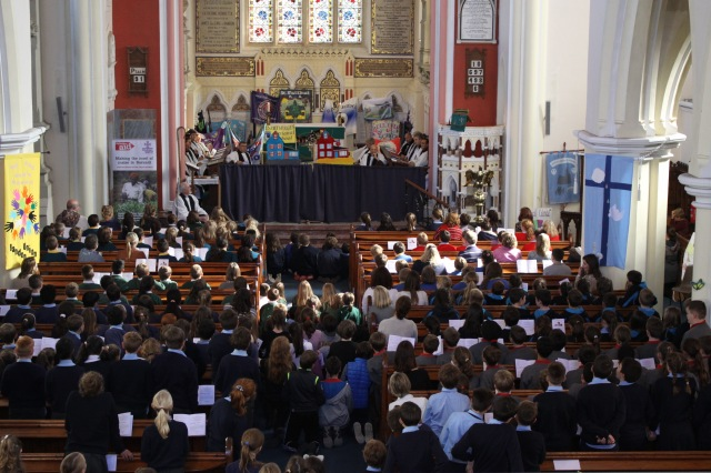 A full church as everyone watched the puppet show mime presented by pupils from the Model School, Dunmanway.  Photo:  Sam Wynn