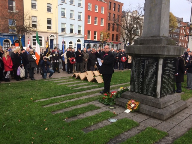 The Right Reverend Dr Paul Colton, Bishop of Cork, delivers an oration at the War Memorial in Cork on Remembrance Sunday.