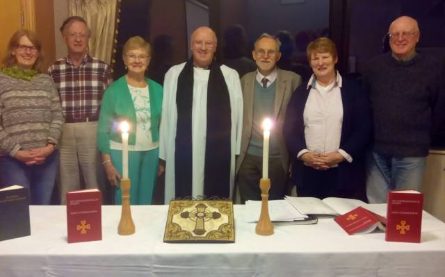 Group at the Service (from left to right): Caroline  Nolan , Development Officer CGnE, Daithí O Maolchoille Vice-Chairman CGnE, ,Bláthnaid O' Brádaigh (Pobal an Aifrinn), The Rev. Tony Murphy, An t Ath. Frainc Mac Brádaigh (Pobal an Aifrinn), Mary Healy (St Mary's Carrigaline), Risteard Mac Annraoi (St Anne's Church, Shandon)