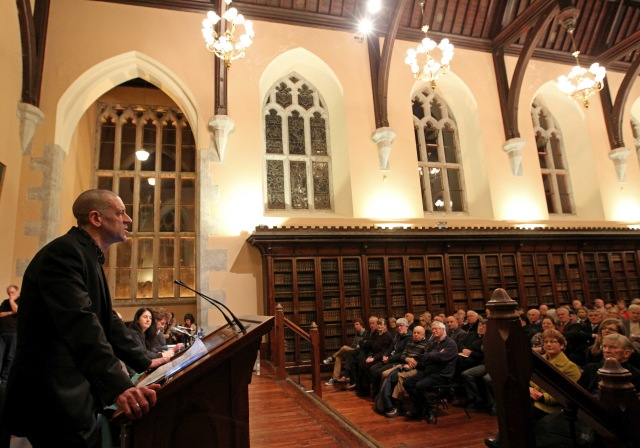 REPRO FREE 22/01/2016. Public lecture - 1916: New Perspectives; Old Rows - by Professor Diarmaid Ferriter, Professor of Modern Irish History at University College, Dublin, first of a series of events planned by the Church of Ireland in the United Dioceses of Cork, Cloyne and Ross to mark 2016, the centenary year of events in 1916, at the Aula Maxima UCC, Cork. Professor Diarmaid Ferriter, speaking at the Lecture. Picture Jim Coughlan. A public lecture - 1916: New Perspectives; Old Rows - by Professor Diarmaid Ferriter, Professor of Modern Irish History at University College, Dublin, first of a series of events planned by the Church of Ireland in the United Dioceses of Cork, Cloyne and Ross to mark 2016, the centenary year of events in 1916. Bishop Paul Colton, introduced by the President of UCC, Dr Michael Murphy. In addition to Professor Ferriter, other speakers were Dr John Borgonovo (Lecturer in History at UCC) and Professor John A. Murphy (Professor Emeritus at UCC) Diocesan event held in the Aula Maxima at UCC. The programme for the centenary year has been organised jointly by the Bishop of Cork, Dr Paul Colton and a group at St Fin Barre's Cathedral, led by the Dean of Cork, the Very Reverend Nigel Dunne, including local historian, Dr Alicia St Leger and the writer Mary Leland.