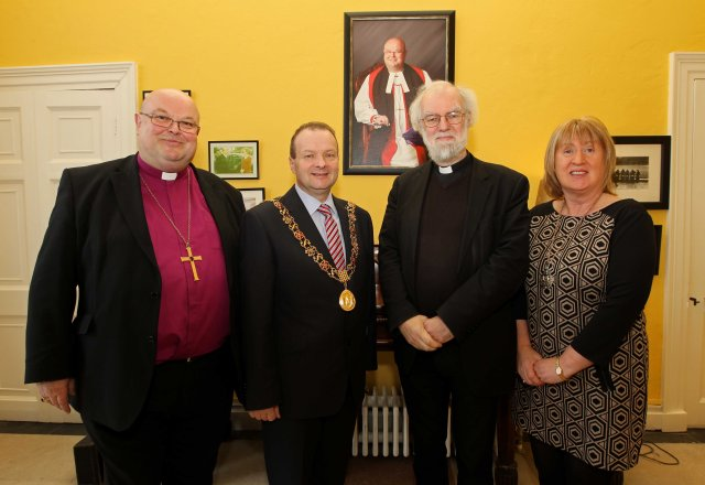 REPRO FREE - NO REPRODUCTION FEE. 28/02/2016. The visit of Dr. Rowan Williams, Former Archbishop of Canterbury, to the United Dioceses of Cork, Cloyne and Ross, in his capacity as Chairperson of the Board of Christian Aid, at a Special Service of Thanksgiving, marking 70 years of Christian Aid, at St. Fin Barr's Cathedral, Cork. Attending a reception pre Thankgiving service, Bishop Paul Colton, Lord Mayor Cllr Chris O'Leary, Dr. Rowan Williams, Former Archbishop of Canterbury and Lady Mayoress Angela O'Leary, at The Palace, Bishop Street, Cork. Picture: Jim Coughlan.