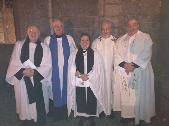 At the Ecumenical Service (l-r) were: the Rev. Tony Murphy, Richard Dring, the Rev. Elaine Murray, Fr Pat Fogarty, and Fr Con Cronin.