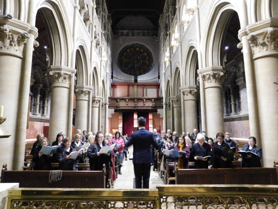 St Fin Barre's Cathedral, Director of Music, rehearses with some of those who took part in 'Come and Sing'