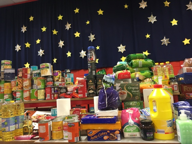 Gifts of food and supplies collected and delivered to the school