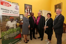 Archbishop of Burundi, The Most Reverend Martin Blaise Nyaboho, with the Bishop of Cork, the Right Reverend Dr. Paul Colton, also included are Rosamond Bennett, CEO Christian Aid Ireland, Susan Colton and Andrew Coleman, Christian Aid Cork. Picture: Jim Coughlan.