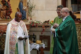 Archbishop of Burundi, The Most Reverend Martin Blaise Nyaboho, during the Harvest Festival Eucharist Service, also included are the Very Reverend Nigel Dunne, Dean of Cork and Bishop of Cork, the Right Reverend Dr. Paul Colton. Picture: Jim Coughlan.